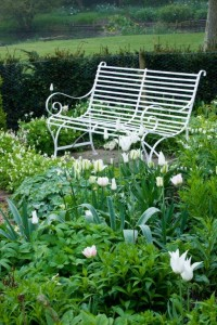 wrought iron bench in white garden